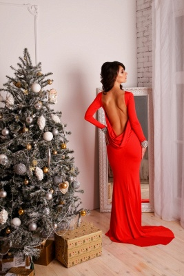 Sexy Red Long Sleeve 2020 Prom Dress Mermaid Open Back Crystals_3