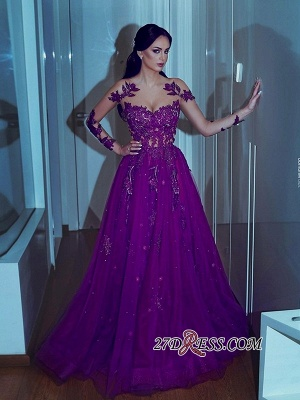 Sweetheart Mermaid A-line Appliques Long-sleeves Prom Dresses_1