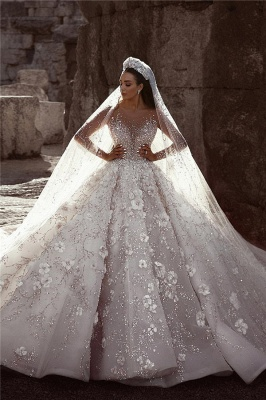 Luxurious Long Sleeve 2020 Wedding Dresses | Ball Gown Flowers Crystal Bridal Gowns_1