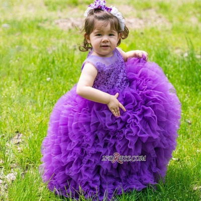 2020 Floor-Length Lovely Lace Purple Ball-Gown Sleeveless Flower-Girl Dress