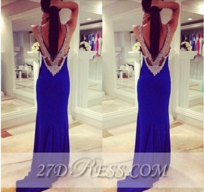 Sexy Elegant Long Corset Prom Dresses Applique Mermaid Party Gowns with Beadings_2
