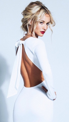 Elegant Backless Bowknot White Homecoming Dress Long Sleeve Short Prom Gown_1