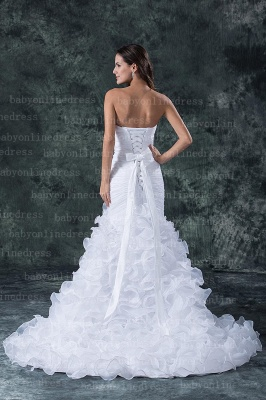 Hot New Wedding Dresses 2020 Sale Elegent Sweetheart Ruffles Organza Sash Hand Made Flower Beads Mermaid_5