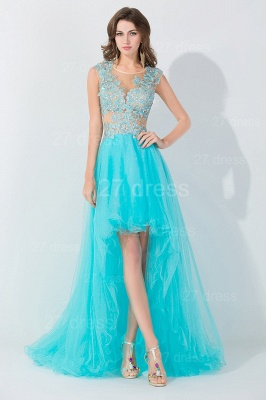 Newest Lace Appliques Hi-Lo Evening Dress Sweep Train_3
