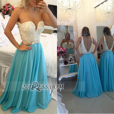 Glamorous Sweetheart Pearls Beadings Prom Dress A-Line Chiffon Long Evening Party Gowns BT0_4