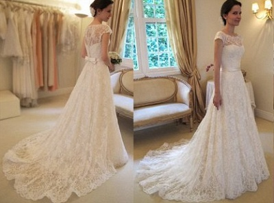 New Arrival Lace A-line Princess Wedding Dresses 2020 with Cap Sleeves_1