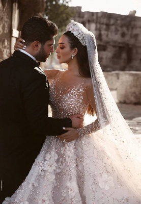 Luxurious Long Sleeve 2020 Wedding Dresses | Ball Gown Flowers Crystal Bridal Gowns_3