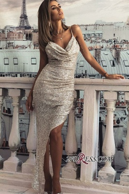 Sequins Split Straps Sexy Long Front Spaghetti Sleeveless Prom Dresses_1