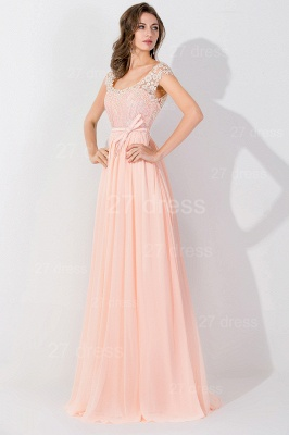 Modern Off-the-shoulder Chiffon Bowknot Evening Dress Appliques Floor-length_2