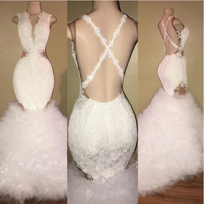 White mermaid lace prom dress, ruffles evening gowns BA8448_3