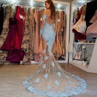 Glamorous Long Sleeve Lace Prom Dresses | 2020 Mermaid Appliques Evening Gowns BC1564_3