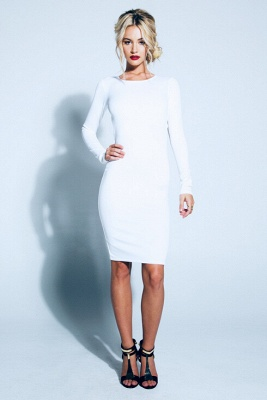 Elegant Backless Bowknot White Homecoming Dress Long Sleeve Short Prom Gown_2