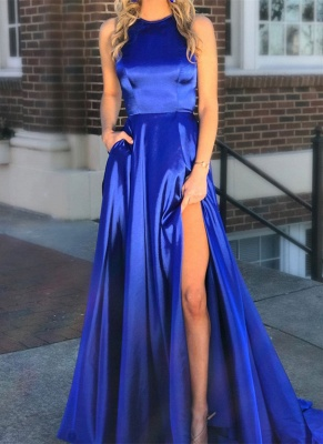 Elegant Royal Blue 2020 Evening Dress | 2020 Long Slit Prom Dress On Sale BC1271_1