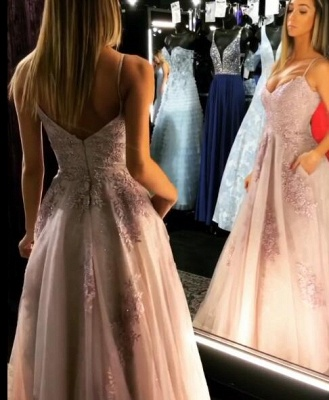 Elegant Spaghetti-Straps Lace Prom Dress | 2020 Long Tulle Evening Gowns_4