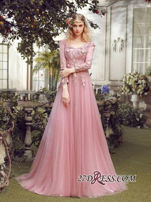 Long Sleeve Pink Evening Tulle | 2020 Prom Dress With Lace Appliques_3