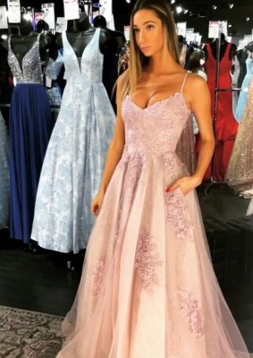 Elegant Spaghetti-Straps Lace Prom Dress | 2020 Long Tulle Evening Gowns_2