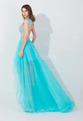 Newest Lace Appliques Hi-Lo Evening Dress Sweep Train_2