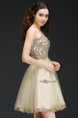 Lovely Sweetheart Short Appliques Lace-Up Homecoming Dress_5