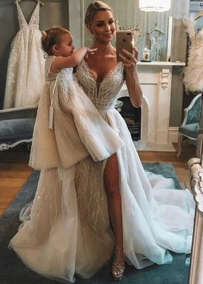Chic V-Neck Sleeveless 2020 Wedding Dresses | Tulle Sequins Bridal Gowns With Slit BC1442_2