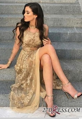 Gold Side-Slit High-Neck Long-Sleeves Sexy Appliques Tulle Prom Dresses BA8499_2