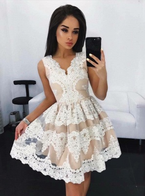 Lovely Lace Homecoming Dress Short Sleeveless Party Dress On Sale_1