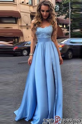 Lace Sleeveless Glamorous Strapless A-Line Prom Dresses_1