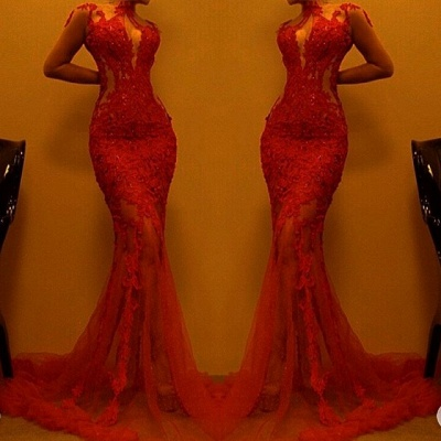 Gorgeous Red Mermaid Evening Dress | 2020 Lace Prom Dress On Sale_3