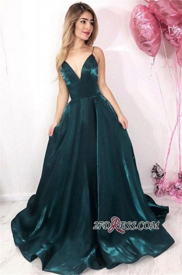 Sweep Spaghetti Straps Sleeveless Simple A-Line Train Prom Dresses_1