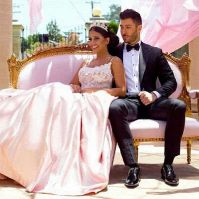 Gorgeous Pink Spaghetti-Straps Evening Dress | 2020 Mermaid Lace Prom Gown_4