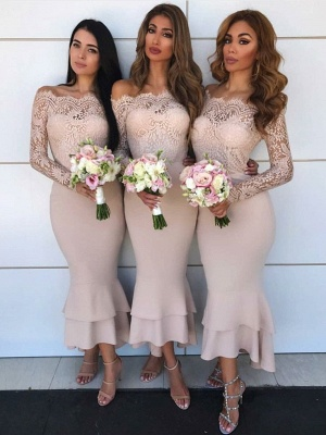 Hot Sale Long Sleeve Bridesmaid Dress | 2020 Lace Maid of Honor Dress_1