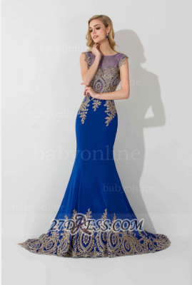 Sexy Illusion Cap Sleeve Mermaid Prom Dress Royal Blue Floor-length Appliques Evening Gown_2