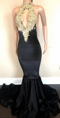 Black High-Neck Prom Dress | 2020 Lace Appliques Party Gowns On Sale_1
