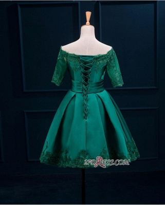 2020 Lace Green Short Appliques Charming Half-Sleeve Homecoming Dress BA3856_5