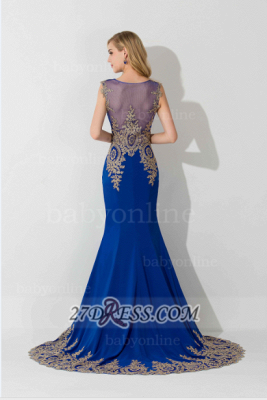 Sexy Illusion Cap Sleeve Mermaid Prom Dress Royal Blue Floor-length Appliques Evening Gown_6