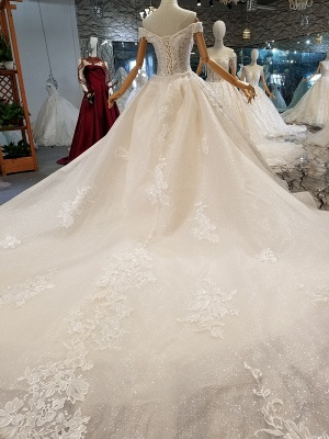 Luxurious Off-the-Shoulder Sequins Wedding Dresses | 2020 Beaidngs Lace Ball Gown Bridal Dresses BC1606_4