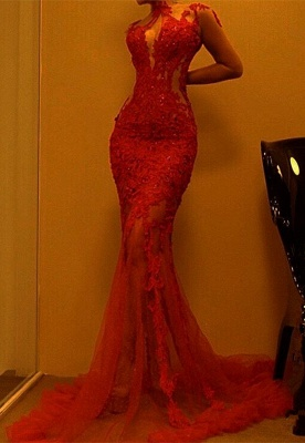 Gorgeous Red Mermaid Evening Dress | 2020 Lace Prom Dress On Sale_1