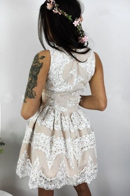 Lovely Lace Homecoming Dress Short Sleeveless Party Dress On Sale_3