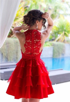 Sexy Red Lace Sleeveless Homecoming Dress 2020 Short Layers Cocktail Gowns_4