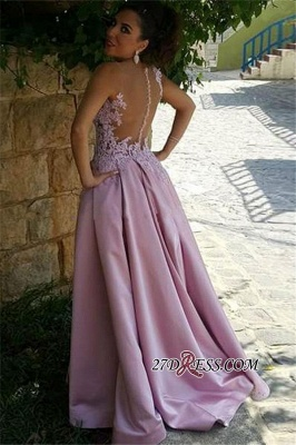 2020 Pink Delicate Buttons Sleeveless A-Line Appliques Prom Dress_2