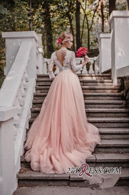 Lace Tulle V-Neck Pink Beautiful Long-Sleeve Zipper Wedding Dress_1