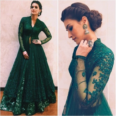 Long-Sleeve Green Evening Dress | 2020 Lace Prom Dress On Sale_3
