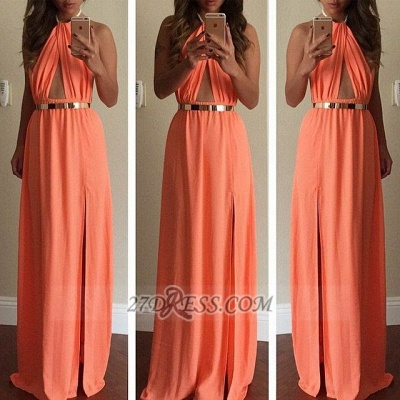 Classic High Neck Sleeveless Long Prom Dress With Front Split And Golden Belt_2