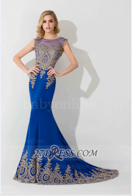 Sexy Illusion Cap Sleeve Mermaid Prom Dress Royal Blue Floor-length Appliques Evening Gown_4