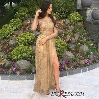 Gold Side-Slit High-Neck Long-Sleeves Sexy Appliques Tulle Prom Dresses BA8499_1