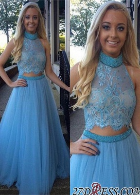 2020 High-Neck Glamorous Two-Pieces Tulle A-Line Beadings Prom Dress_2