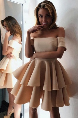 Gorgeous Short-Sleeve 2020 Homecoming Dress | Layers Mini Party Dress On Sale_1
