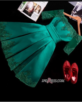 2020 Lace Green Short Appliques Charming Half-Sleeve Homecoming Dress BA3856_3