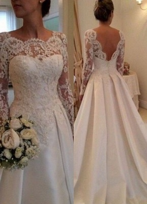 Elegant Illusion Long Sleeve Wedding Dress With Lace Appliques_1