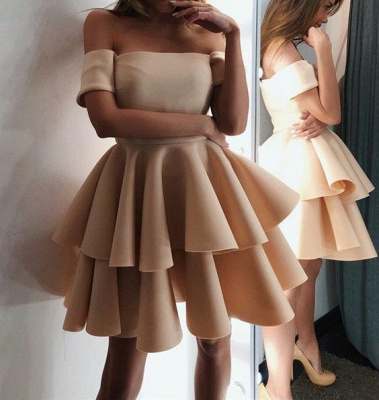 Gorgeous Short-Sleeve 2020 Homecoming Dress | Layers Mini Party Dress On Sale_3