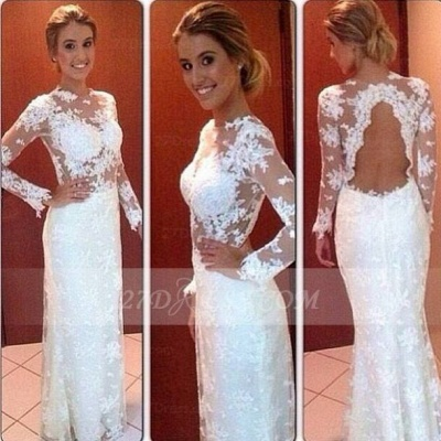 Gorgeous Lace Long Sleeve Wedding Dresses Floor Length Simple Bridal Gowns_2